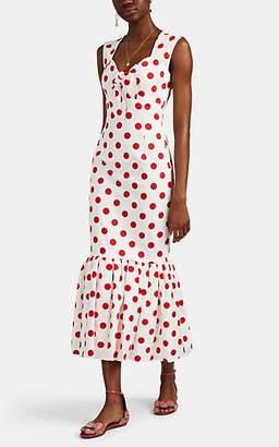 Rebecca De Ravenel Women's Tie-Front Polka Dot Cotton Dress - Wht, Rd
