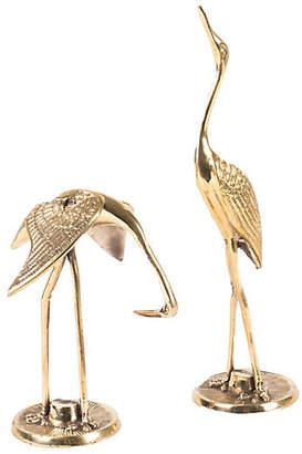 One Kings Lane Asst. of 2 Brass Crane Objets - Gold