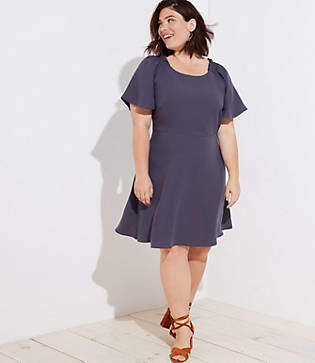 LOFT Plus Smocked Flare Sleeve Dress