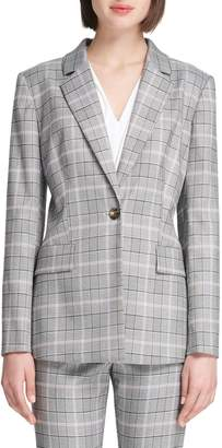 Donna Karan Plaid Notch-Lapel Blazer