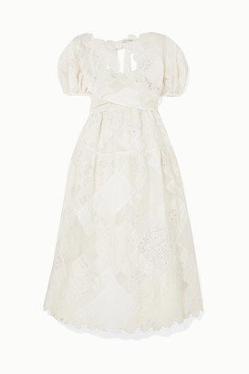 Sophie Bille Brahe Cecilie Bahnsen Tessa Patchwork Crepe, Organza, Poplin, Cloqué And Crocheted-lace Dress - White
