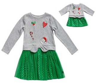 Dollie & Me Holiday 2Fer Dress With Matching Doll Outfit (Little Girls And Big Girls)