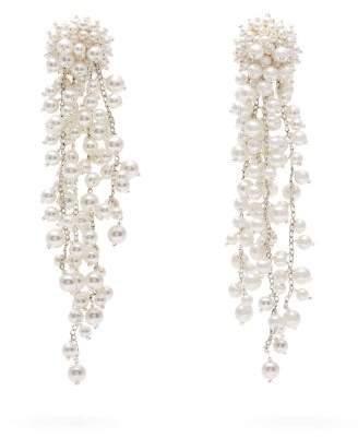 Oscar de la Renta Faux Pearl Embellished Drop Earrings - Womens - Pearl
