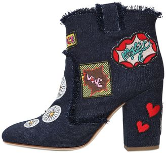 95mm Patches Denim Ankle Boots $1,036 thestylecure.com