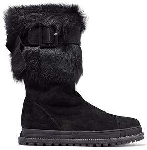 Stuart Weitzman Buckled Faux Fur-Trimmed Shearling Boots