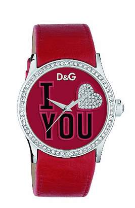 Dolce & Gabbana Women's Quartz Watch with Red Dial Analogue Display and Red Leather Strap DW0147