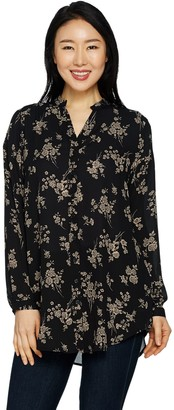 Joan Rivers Classics Collection Joan Rivers Silky Floral Print Blouse with Long Sleeves