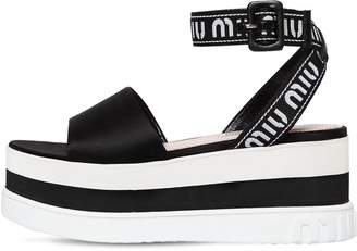 Miu Miu 80mm Nylon & Satin Wedge Sandals