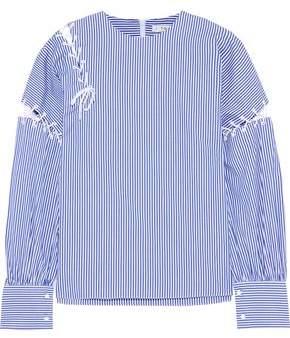 Tibi Lace-up Striped Cotton-poplin Blouse