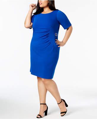 Jessica Howard Plus Size Starburst Pleated Sheath Dress