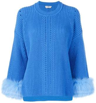 Fendi fur-trim knit sweater