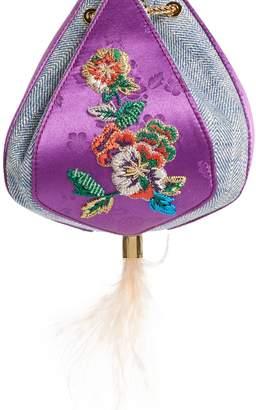 the VOLON Cindy Flower Embroidered Brocade & Denim Clutch