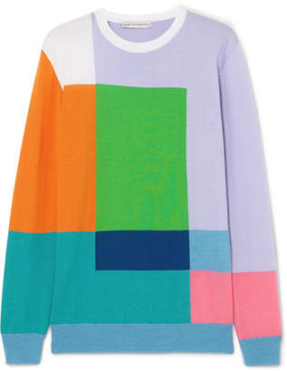 Mary Katrantzou Hartigan Color-block Wool Sweater - Blue