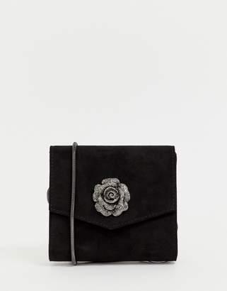 Lipsy rose embellishment clutch bag in black