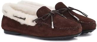 Tod's Gommino fur-lined suede loafers