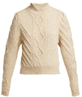 Isabel Marant Brantley Aran Knit Wool Blend Sweater - Womens - Ivory