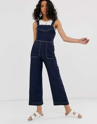 Weekday wide leg cropped denim jumpsuit in dark blue
