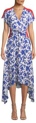 Pinko Floral Twist-Front Asymmetrical Midi Dress