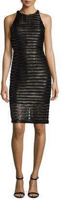 Parker Braelyn Metallic-Stripe Cocktail Dress $298 thestylecure.com