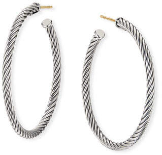 "David Yurman Cablespira Hoop Earrings, 1.5"""