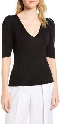 Lewit Puff Sleeve Merino Wool & Silk Sweater