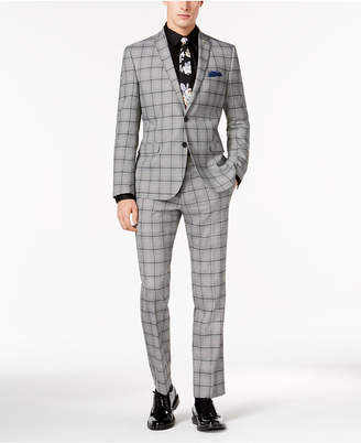 Nick Graham Men Slim-Fit Black/White Crepe Plaid Suit