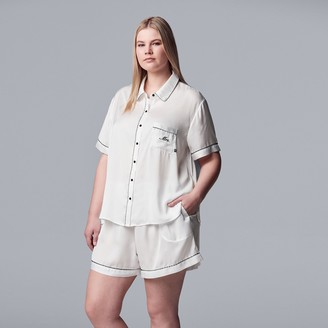 "Vera Wang Plus Size Simply Vera Mrs."" Satin Shirt & Pajama Shorts Set"