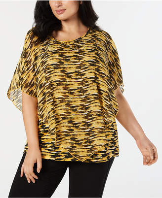 NY Collection Plus Size Printed Flutter-Sleeve Top
