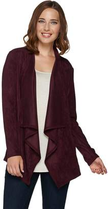 Logo By Lori Goldstein LOGO by Lori Goldstein Faux Suede Draped Front Cardigan