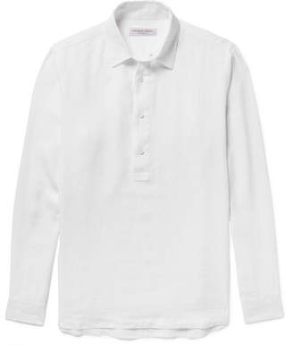 Orlebar Brown Ridley Slub Linen Half-Placket Shirt - White