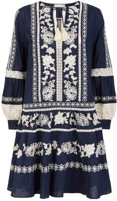 Tory Burch Floral Embroidered Mini Dress