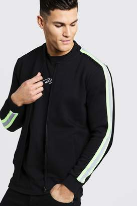 boohoo Neon Tape Detail Fleece Bomber