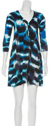 Diane von Furstenberg Printed Silk Long Sleeve Mini Dress
