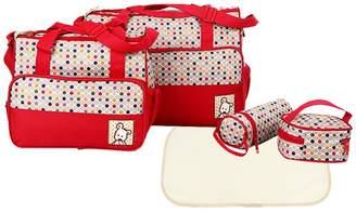 Prettyia 5Pcs Polka Dots Large Waterproof Baby Nappy Diaper Changing Bags Set Wipe Clean