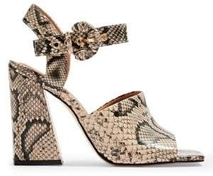 Topshop Sahara Snake Block Heel Sandals