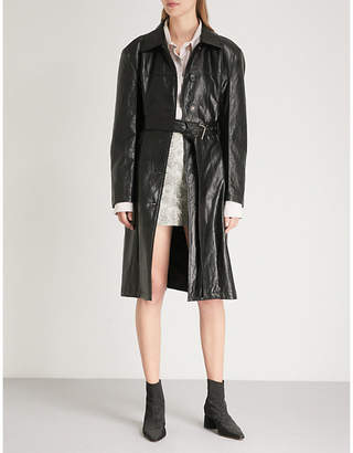 WE11 DONE Belted faux-leather coat