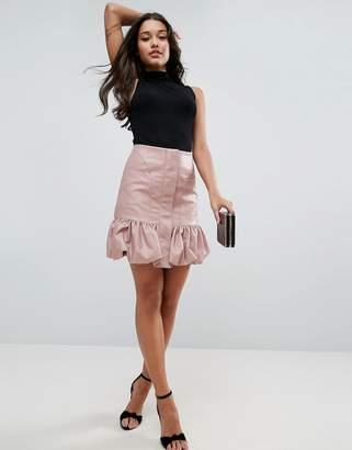 Asos Bubble Hem Mini Skirt in Leather Look