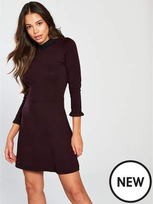 Warehouse Lace Collar Knitted Dress