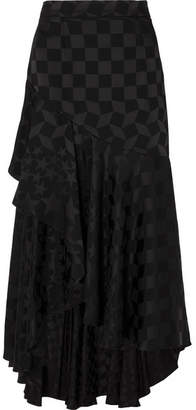 Temperley London Cyndie Asymmetric Satin-jacquard Midi Skirt - Black