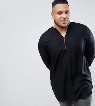 Asos DESIGN Plus Regular Fit Longline Viscose Shirt In Black With V Neck