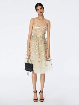 Oscar de la Renta Sequin Band-Embroidered Tulle Cocktail Dress