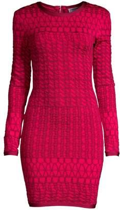Herve Leger Long Sleeve Jacquard Dress