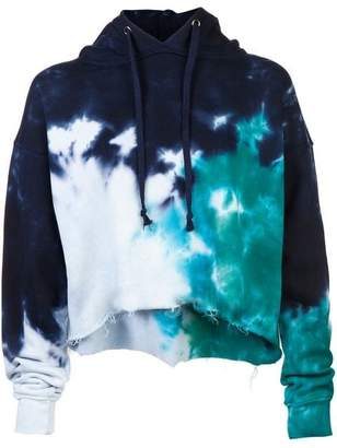 RE/DONE Tie Dye Cropped Raw Hoodie