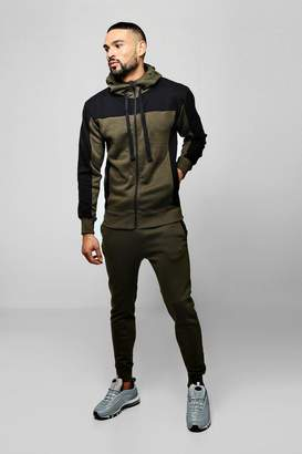 BoohooMAN Zip Hooded Tracksuit With Contrast Panels