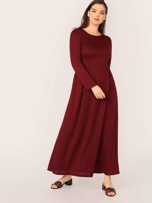 Shein Plus Solid Fit and Flare Dress