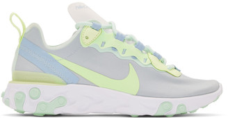 Nike White and Green React Element 55 Sneakers