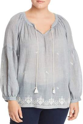 Vince Camuto Plus Embroidered Gauze Peasant Top