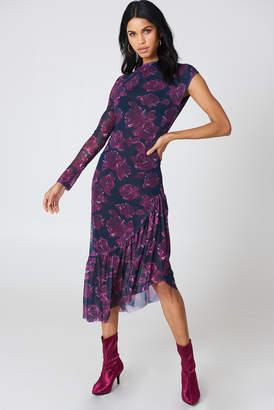 NA-KD Na Kd One Sleeve Mesh Dress Black/Flower Print