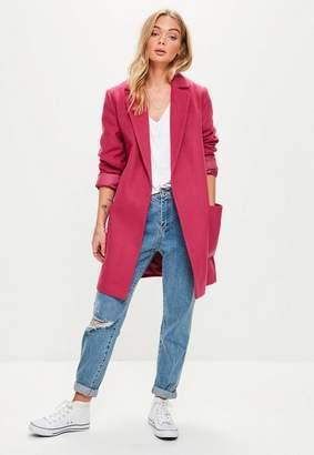 Missguided Pink Slim Fit Coat