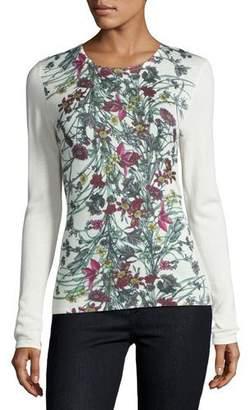 Neiman Marcus Cashmere Collection Superfine Floral-Print Cashmere Crewneck Top $250 thestylecure.com